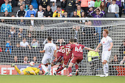 Port Vale striker (on loan from Birmingham City) Alex Jones (26) scores on the rebound from Milton Keynes Dons goalkeeper David Martin (1) penalty save  during the EFL Sky Bet League 1 match between Milton Keynes Dons and Port Vale at stadium:mk, Milton Keynes, England on 9 October 2016. Photo by Dennis Goodwin.