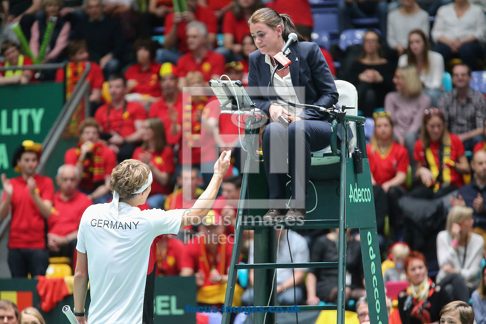 Alexander Zverev of Germany during the world group first round 2017 Davis Cup match between Germany and Belgium in the Fraport Arena, Frankfurt, Germany.<br /> Picture by EXPA Pictures/Focus Images Ltd 07814482222<br /> 05/02/2017<br /> *** UK &amp; IRELAND ONLY ***<br /> <br /> EXPA-EIB-170205-0212.jpg