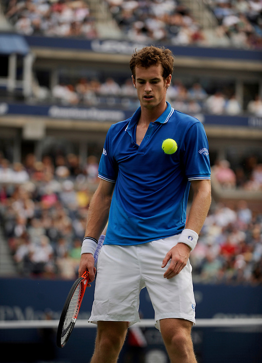 NEW YORK - SEPTEMBER 08: Andy Murray looks on during a match against Marin Cilic during day nine of the 2009 U.S. Open at the USTA Billie Jean King National Tennis Center on September 8, 2009 in Flushing neighborhood of the Queens borough of New York City. (Photo by Rob Tringali) *** Local Caption *** Andy Murray
