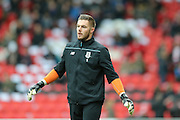 Stoke City goalkeeper Jack Butland  during the The FA Cup third round match between Doncaster Rovers and Stoke City at the Keepmoat Stadium, Doncaster, England on 9 January 2016. Photo by Simon Davies.