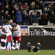 New York Red Bulls players celebrate their 2-1 victory at the final whistle as Sporting Kansas City players react with disappointment  after the New York Red Bulls V Sporting Kansas City, Major League Soccer Play Off Match at Red Bull Arena, Harrison, New Jersey. USA. 30th October 2014. Photo Tim Clayton