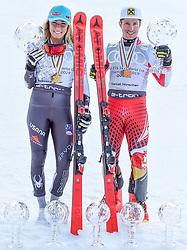 17.03.2019, Soldeu, AND, FIS Weltcup Ski Alpin, Siegerehrung, Gesamtweltcup, im Bild v.l. 1. Platz Damen Mikaela Shiffrin (USA) mit der grossen Kristallkugel für den Sieg im Gesamtweltcup Saison 2018/19, 1. Platz Herren Marcel Hirscher (AUT) mit der grossen Kristallkugel für den Sieg im Gesamtweltcup Saison 2018/19 // f.l. 1st place Women Mikaela Shiffrin of the USA with the big crystal globe for the victory in the overall World Cup season 2018/19 1st place Men Marcel Hirscher of Austria with the big crystal globe for the victory in the overall World Cup season 2018/19 during the allover winner Ceremony for the Worlcup of FIS Ski Alpine World Cup finals. Soldeu, Andorra on 2019/03/17. EXPA Pictures © 2019, PhotoCredit: EXPA/ Erich Spiess