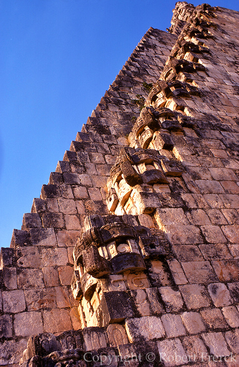 MEXICO, MAYAN, YUCATAN Uxmal; Pyramid of the Magician stairway