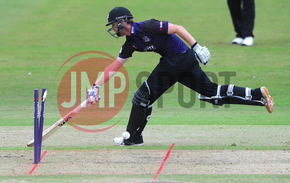 Ian Cockbain of Gloucestershire is run out by Adam Wheater of Hampshire for 10  - Photo mandatory by-line: Dougie Allward/JMP - Mobile: 07966 386802 - 14/07/2015 - SPORT - Cricket - Cheltenham - Cheltenham College - Natwest T20 Blast