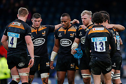 Wasps players inc Winger Sailosi Tagicakibau and Flanker James Haskell (capt) gather round after winning their last match at Adams Park. Wasps next home game will be at their new home in Coventry, the Ricoh Arena - Photo mandatory by-line: Rogan Thomson/JMP - 07966 386802 - 14/12/2014 - SPORT - RUGBY UNION - High Wycombe, England - Adams Park Stadium - Wasps v Castres Olympique - European Rugby Champions Cup Pool 2.