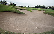 Left-side fairway bunker on the 5th at The Address Montgomerie Golf Club, Dubai, United Arab Emirates.  27/01/2016. Picture: Golffile | David Lloyd<br /> <br /> All photos usage must carry mandatory copyright credit (© Golffile | David Lloyd)