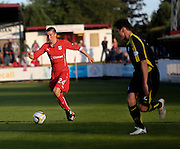 Dundee's Cammy Kerr runs at Brechin trialist Jamie McCormack- Brechin City v Dundee, pre-season friendly at Dens Park<br /> <br />  - &copy; David Young - www.davidyoungphoto.co.uk - email: davidyoungphoto@gmail.com