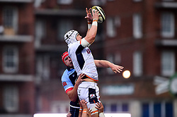 Lewis Carmichael of Edinburgh Rugby wins the line out - Mandatory by-line: Ryan Hiscott/JMP - 05/10/2019 - RUGBY - Cardiff Arms Park - Cardiff, Wales - Cardiff Blues v Edinburgh Rugby - Guinness Pro 14