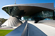 Modern architecture at the BMW Showroom, Customer Collection, Factory and Headquarters in Munich, Bavaria, Germany
