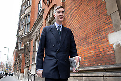 © Licensed to London News Pictures. 27/03/2019. London, UK. Jacob Rees-Mogg MP walks to the Houses of Parliament in Westminster this morning. Later today MPs are expected to vote on a series of indicative votes on alternative proposals to British Prime Minister Theresa May's withdrawal agreement. Photo credit : Tom Nicholson/LNP