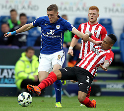 Southampton's Nathaniel Clyne tackles Leicester City's Jamie Vardy - Photo mandatory by-line: Robbie Stephenson/JMP - Mobile: 07966 386802 - 09/05/2015 - SPORT - Football - Leicester - King Power Stadium - Leicester City v Southampton - Barclays Premier League