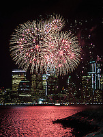 JERSEY CITY, NJ - JANUARY 27:  Macy's-sponsored fireworks show at Liberty State Park on January 27, 2014 in Jersey City, New Jersey.  (Photo by Dave Kotinsky/WireImage)