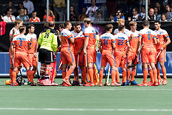the players of The Netherlands wish eachother luck during the Champions Trophy match between the Netherlands and Argentina on the fields of BH&BC Breda on June 23, 2018 in Breda, the Netherlands
