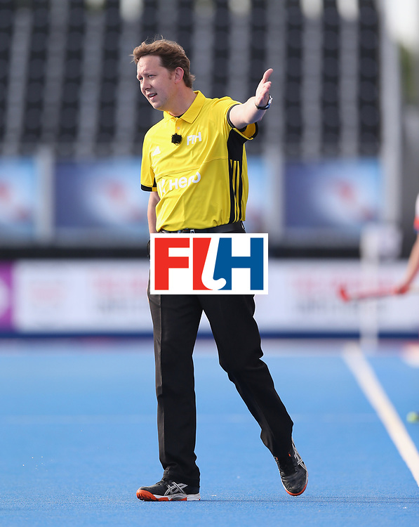 LONDON, ENGLAND - JUNE 15:  Match official during the Hero Hockey World League Semi Final match between Netherlands and Pakistan at Lee Valley Hockey and Tennis Centre on June 15, 2017 in London, England.  (Photo by Alex Morton/Getty Images)