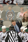 DALLAS, TX - NOVEMBER 1:  Head coach Patrick Roy of the Colorado Avalanche looks on against the Dallas Stars on November 1, 2013 at the American Airlines Center in Dallas, Texas.  (Photo by Cooper Neill/Getty Images) *** Local Caption *** Patrick Roy