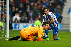 Sam Baldock of Brighton & Hove Albion kneels after Jon McLaughlin of Burton Albion saves an attempted shot - Mandatory by-line: Jason Brown/JMP - 11/02/2017 - FOOTBALL - Amex Stadium - Brighton, England - Brighton and Hove Albion v Burton Albion - Sky Bet Championship