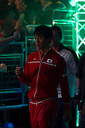Japans Kei Nishikori walks on to the court during the Davis Cup by BNP Paribas match between Great Britain and Japan at the National Indoor Arena, Birmingham, England.<br /> Picture by Anthony Stanley/Focus Images Ltd 07833 396363<br /> 04/03/2016