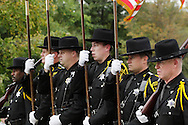 Salisbury Mills, New York - A color guard from the Orange County Sheriff's Office leads Fire departments and bands march down Route 94 during 96th annual Orange County Volunteer Firemen's Association (OCVFA) parade on Sept. 24, 2011.