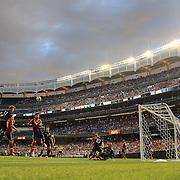 Paul McShane, Ireland, heads over the bar during the Spain V Ireland International Friendly football match at Yankee Stadium, The Bronx, New York. USA. 11th June 2013. Photo Tim Clayton