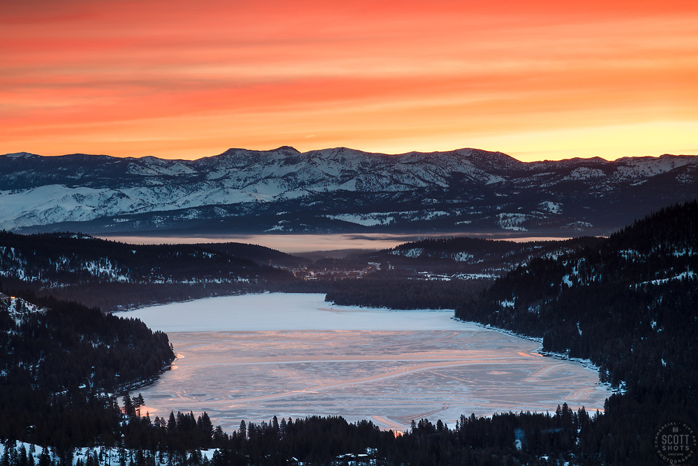 """Donner Lake Sunrise 16"" - Sunrise photograph of a mostly frozen over Donner Lake in Truckee, California."