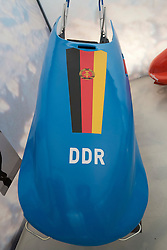 East German bobsleigh at German Sports and Olympics Museum in Cologne Germany