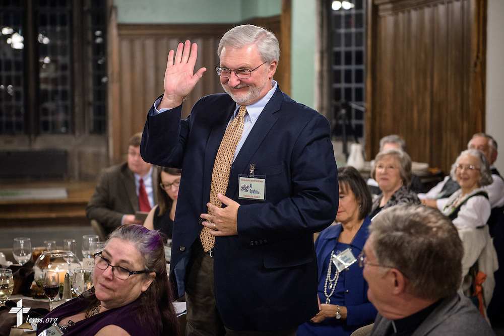 "Al Dowbnia of LCMS Communications receives a special acknowledgement for his filming work on ""The First Rosa: Teacher, Confessor, Church Planter,"" during the ""Trumpeting the Treasures"" Concordia Historical Institute 42nd annual awards banquet on Thursday, Nov. 10, 2016, at Concordia Seminary, St. Louis. LCMS Communications/Erik M. Lunsford"