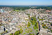 Nederland, Gelderland, Arnhem, 30-09-2015; binnenstad van Arnhem. Zicht op Airbornplein, Musisplein. <br /> View of the city of Arnhem. Binnenstad met Sint-Eusebiuskerk (Eusebius, Eusebiuskerk of Grote Kerk) en Neder-rijn.<br /> luchtfoto (toeslag op standard tarieven);<br /> aerial photo (additional fee required);<br /> copyright foto/photo Siebe Swart