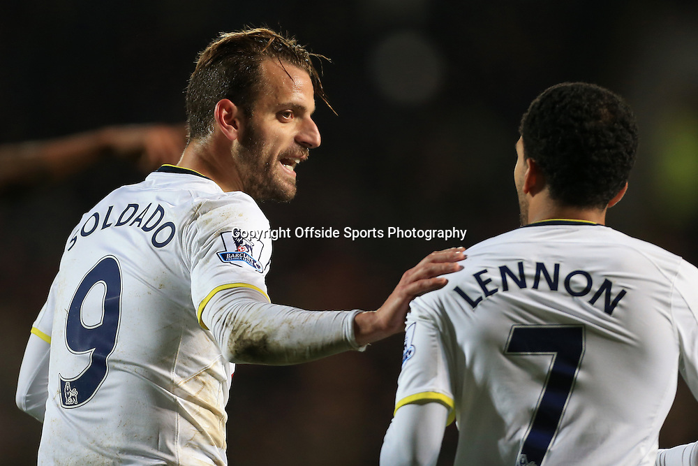 23rd November 2014 - Barclays Premier League - Hull City v Tottenham Hotspur - Roberto Soldado of Spurs (L) and Aaron Lennon of Spurs - Photo: Simon Stacpoole / Offside.