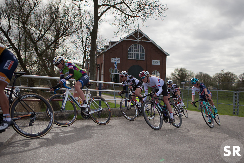 Hannah Barnes (GBR) of CANYON//SRAM Racing rides in the front group during Stage 1b of the Healthy Ageing Tour - a 77.6 km road race, starting and finishing in Grijpskerk on April 5, 2017, in Groeningen, Netherlands.