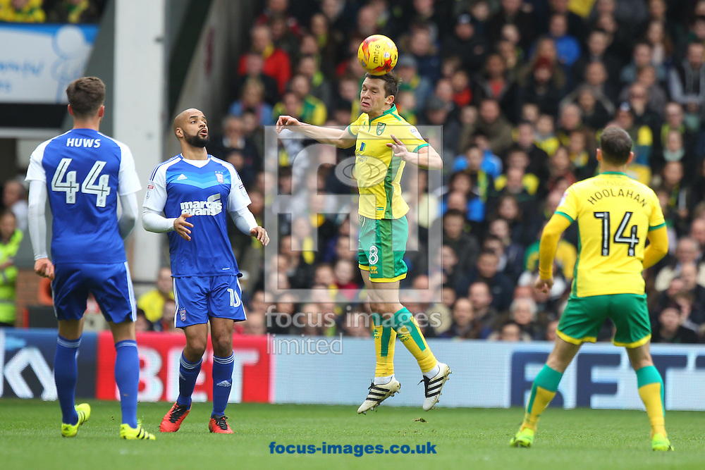 Jonny Howson of Norwich wins a header during the Sky Bet Championship match at Carrow Road, Norwich<br /> Picture by Paul Chesterton/Focus Images Ltd +44 7904 640267<br /> 26/02/2017