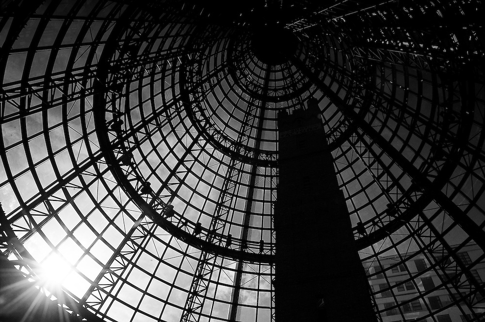 Interior of melbourne central shopping centre in black and white