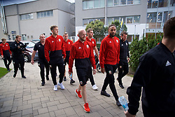 BRATISLAVA, SLOVAKIA - Thursday, October 10, 2019: Wales' Jonathan Williams (L) and Ashley Williams during a pre-match team walk near the Hotel NH Bratislava Gate One ahead of the UEFA Euro 2020 Qualifying Group E match between Slovakia and Wales. (Pic by David Rawcliffe/Propaganda)