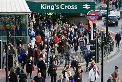 Pedestrian congestion at King's Cross, St Pancras © under license to London News Pictures. 01/11/2010.Tube Strike, RMT and TSSA members strike over job cuts and safety issues.