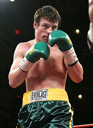 John Duddy during his bout against Byron Mackie at Hammerstein Ballroom in NYC.  Duddy won the bout via 4th round KO to remain undefeated at 13-0, 12KO's.