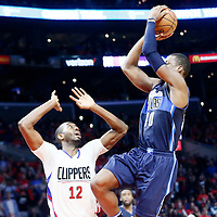 23 December 2016: Dallas Mavericks forward Harrison Barnes (40) takes the game winning jump shot over LA Clippers forward Luc Mbah a Moute (12) during the Dallas Mavericks 90-88 victory over the LA Clippers, at the Staples Center, Los Angeles, California, USA.