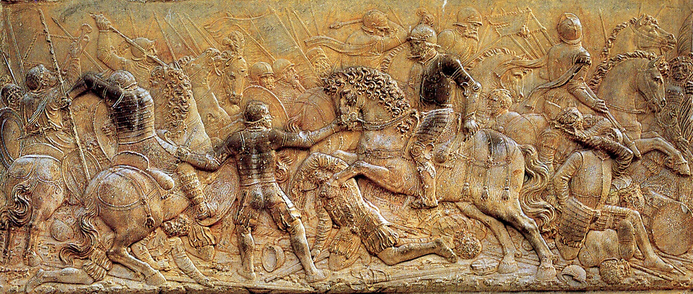Bas-relief depicting the Battle of Pavia (1525) by Juan de Orea. The Battle of Pavia, February 24, 1525, was the decisive engagement of the Italian War of 1521-25. A Spanish-Imperial army under the command of Charles de Lannoy attacked the French army