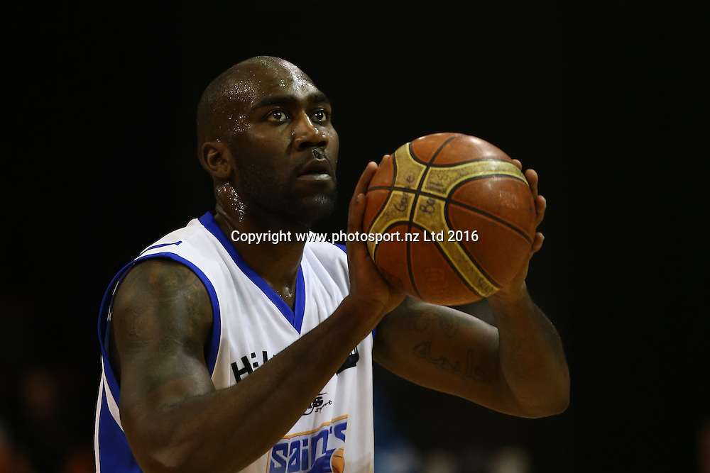 Jameel Watkins of the Saints takes a shot in the NBL basketball match between the Southland Sharks and Wellington Saints, ILT Stadium Southland, Invercargill, Thursday, March 31, 2016. Photo: Dianne Manson / www.photosport.nz