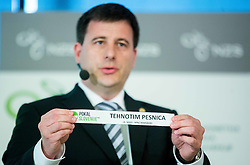 Ales Zavrl of NZS with paper NK Tehnotim Pesnica during NZS Draw for season 2015/16 on June 23, 2015 in Brdo pri Kranju, Slovenia. Photo by Vid Ponikvar / Sportida