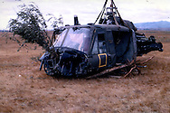 """""""Crashed B Troop helicopter ... it was a result of target fixation ... he just flew her into the tree."""" Pleiku Campaign. November 1965. from the collection of Jim Goldsberry."""