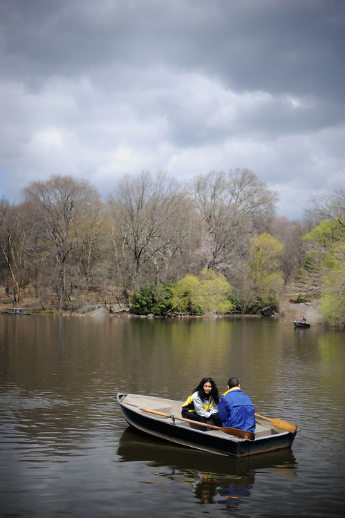 Central Park goers enjoy a chilly spring rowboat ride on Sunday afternoon this April 2008.
