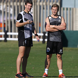 DURBAN, SOUTH AFRICA Monday 22nd June  - Jimmy Wright (Biokinetcist) with Michael Claassens during the Cell C Sharks training session at Growthpoint Kings Par in Durban, South Africa. (Photo by Steve Haag)
