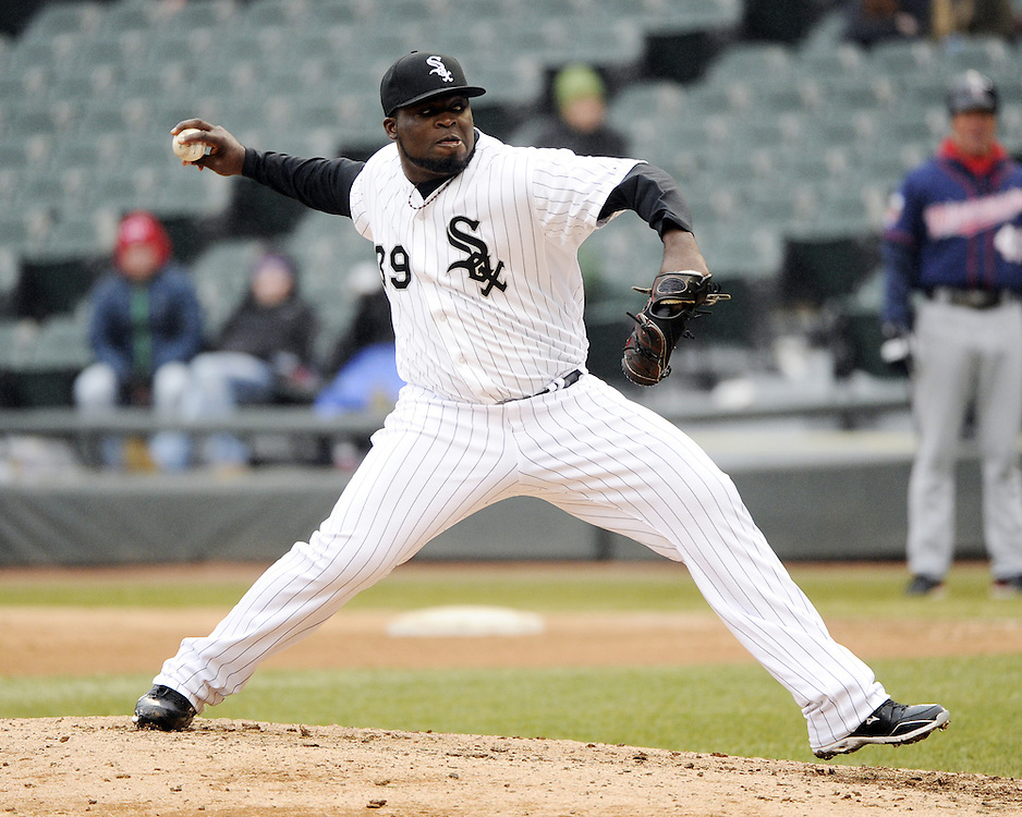 CHICAGO - APRIL 03:  Makiel Cleto of the Chicago White Sox pitches against the Kansas City Royals on April 3, 2014 at U.S. Cellular Field in Chicago, Illinois.  (Photo by Ron Vesely)