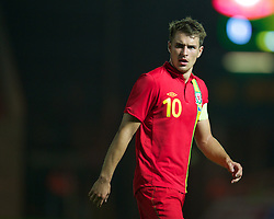 LLANELLI, WALES - Wednesday, August 15, 2012: Wales' captain Aaron Ramsey looks dejected as his side loses 2-0 against Bosnia-Herzegovina during the international friendly match at Parc y Scarlets. (Pic by David Rawcliffe/Propaganda)