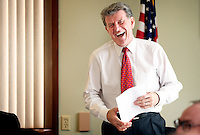 "JEROME A. POLLOS/Press..Gov. Butch Otter has a laugh while discussing property tax issues Tuesday with Boundary and Bonner County residents in Bonners Ferry. Otter took his office to Bonners Ferry as the first ""Capitol for a Day"" which he is planning on doing every month in a different town."