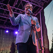 Seattle City Council candidate John Roderick introducing The Presidents of the United States of America performing at Solstice Music Festival, Fremont Fair 2015.