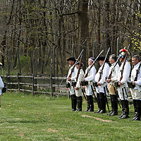 A re-enactment of the American Revolution's Continental Army mustering in Jockey Hollow National Park, New Jersey, USA. Parts of the Continental Army wintered in Jockey Hollow in 1779-1782.<br /> <br /> For Editorial Purposes