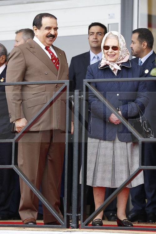 © Licensed to London News Pictures. 11/05/2018. Windsor, UK. Queen Elizabeth II talks with the King of Bahrain Hamad bin Isa Al Khalifa during the 75th Royal Windsor Horse Show . The five day event takes place in the grounds of Windsor Castle. Photo credit: Peter Macdiarmid/LNP
