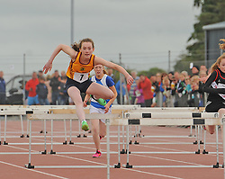 Ballinrobe&rsquo;s Moya O&rsquo;Connell competing in the girls u14 hurdles at the Mayo Community Games.<br /> Pic Conor McKeown