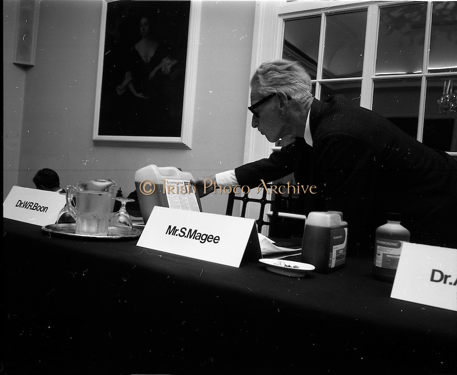 17/07/1970<br /> 07/17/1970<br /> 17 July 1970<br /> I.C.I. Press Conference regarding Paraquat weedkiller at the Royal Hibernian Hotel, Dublin. The conference was part of a campaign, in consultation with the Department of Health, to warn the public of the dangers of decanting the weedkiller into other containers such as unlabelled bottles. This had been the cause of a number of deaths over the previous 8 years as people mistook the chemical for beer, whiskey or cordial. The company planned to write to all 267,000 farmers in the Republic to warn of the dangers of the practice. Picture shows an attendee at the conference taking a closer look at the weedkiller's ingredients and instructions.