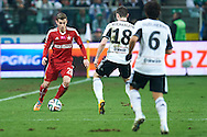 (L) Wisla's Boban Jovic fights for the ball with (R) Legia's Michal Kucharczyk during T-Mobile ExtraLeague soccer match between Legia Warsaw and Wisla Krakow in Warsaw, Poland.<br /> <br /> Poland, Warsaw, March 15, 2015<br /> <br /> Picture also available in RAW (NEF) or TIFF format on special request.<br /> <br /> For editorial use only. Any commercial or promotional use requires permission.<br /> <br /> Mandatory credit:<br /> Photo by © Adam Nurkiewicz / Mediasport